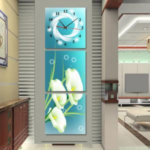 壁掛け時計 壁画時計 静音時計 おしゃれ 3枚パネル ブルー・オランダカイウ