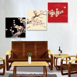 壁掛け時計 壁絵画時計 静音時計 壁飾り おしゃれ 3枚パネル 桜