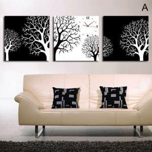 壁掛け時計 壁絵画時計 静音時計 壁飾り オシャレ 3枚パネル 黒白ツリー A/B