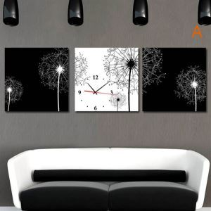 壁掛け時計 壁画時計 静音時計 キャンバス時計 おしゃれ 3枚パネル 黒白タンポポ A/B