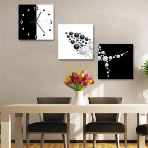 壁掛け時計 壁絵画時計 静音時計 壁飾り おしゃれ 3枚パネル 幾何柄