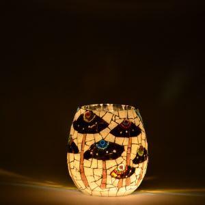ステンドグラステーブルランプ キャンドルホルダー モザイク キノコ