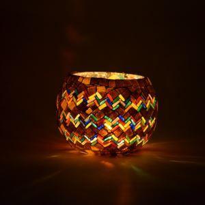 ステンドグラステーブルランプ キャンドルホルダー モザイク アフリカ