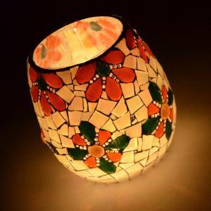 ステンドグラステーブルランプ キャンドルホルダー モザイク 花柄