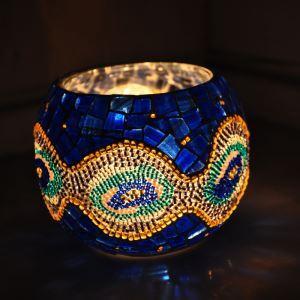ステンドグラステーブルランプ キャンドルホルダー モザイク ブルー
