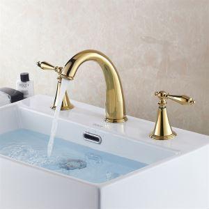 バス水栓 洗面蛇口 浴室水栓 水道蛇口 冷熱混合栓 2ハンドル TI-PVD(QH00305-0599)
