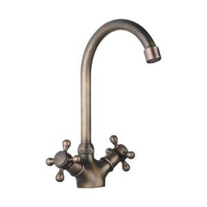 キッチン蛇口 台所蛇口 2ハンドル混合水栓 ブロンズ色