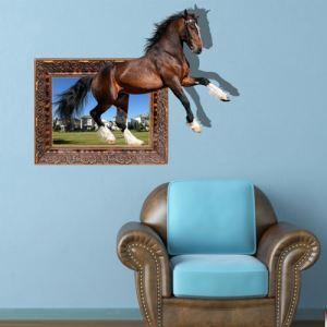 3Dウォールステッカー 転写式ステッカー 立体DIY PVCシール シート 馬柄 WS02083
