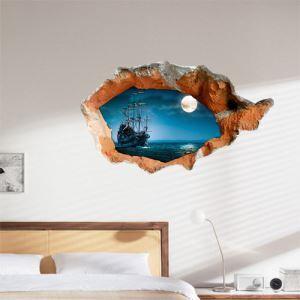 3Dウォールステッカー 立体DIY 夜の海のPVCウォールステッカー