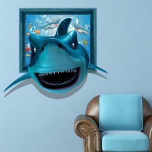 3Dウォールステッカー 転写式ステッカー 立体DIY PVCシール シート サメ柄 WS02146