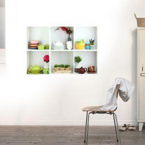 3Dウォールステッカー 転写式ステッカー 立体DIY PVCシール シート 食器棚柄 WS02165