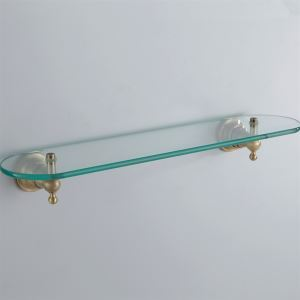 化粧棚 シェルフ ガラス棚 浴室棚 バスアクセサリー ブラス色