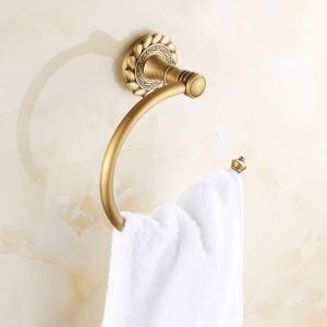 浴室タオルリング タオル掛け タオル収納 壁掛けハンガー バスアクセサリー アンティーク調 ブラス色 JWA001