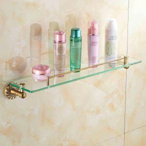 化粧棚 シェルフ ガラス棚 浴室棚 バスアクセサリー ブロンズ色 真鍮製&ガラス