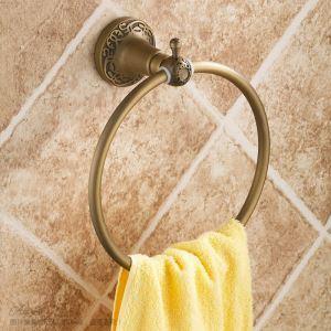 浴室タオルリング タオル掛け タオル収納 壁掛けハンガー バスアクセサリー アンティーク調 ブラス色 JWA018