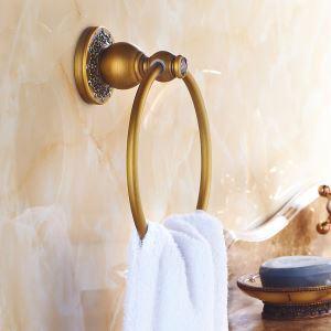 浴室タオルリング タオル掛け タオル収納 壁掛けハンガー バスアクセサリー アンティーク調 ブラス色 LWA025