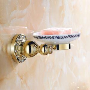 浴室ソープディッシュホルダー バスアクセサリー 金色 真鍮製 アンティーク