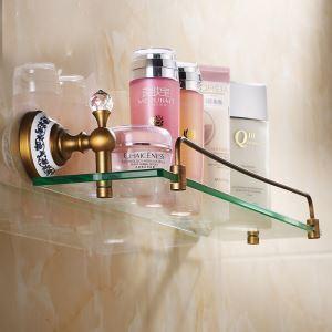 化粧棚 シェルフ ガラス棚 浴室棚 バスアクセサリー ブラス色 真鍮製&ガラス