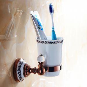 歯ブラシホルダー 歯ブラシスタンド カップ付き 収納 真鍮製 ローズゴールド