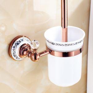 トイレブラシホルダー トイレ用品 トイレブラシ&ポット付き ローズゴールド 真鍮製 田舎風