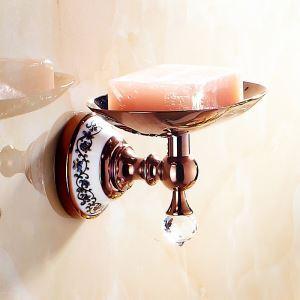 浴室ソープディッシュホルダー バスアクセサリー ローズゴールド 真鍮製 田舎風
