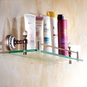 化粧棚 シェルフ ガラス棚 浴室棚 バスアクセサリー ローズゴールド 真鍮製&ガラス