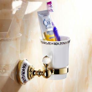 歯ブラシホルダー 歯ブラシスタンド カップ付き 収納 真鍮製 Ti-PVD 金色