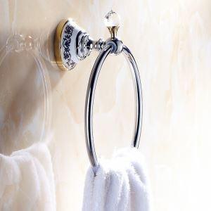 浴室タオルリング タオル掛け タオル収納 壁掛けハンガー バス用品 金色&クロム バスアクセサリー LWA096