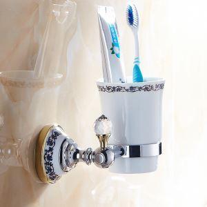 歯ブラシホルダー 歯ブラシスタンド カップ付き 収納 金色&クロム 真鍮製 現代的