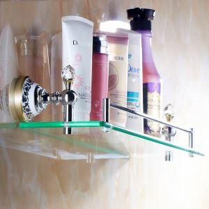化粧棚 シェルフ ガラス棚 浴室棚 バスアクセサリー 金色&クロム 真鍮製&ガラス