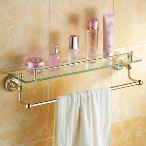 化粧棚 シェルフ ガラス棚 浴室棚 バスアクセサリー 金色 真鍮&ガラス製 Ti-PVD