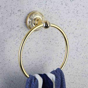 浴室タオルリング タオル掛け タオル収納 壁掛けハンガー バスアクセサリー Ti-PVD 金色 LWA136