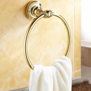浴室タオルリング タオル掛け タオル収納 壁掛けハンガー バスアクセサリー Ti-PVD 金色 LWA152