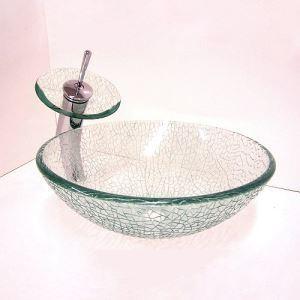 洗面ボウル&蛇口セット 手洗い鉢 洗面器 手洗器 洗面ボール 洗面台 ガラス 排水金具付 網柄 VT4235