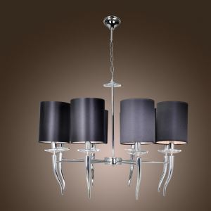 シャンデリア 天井照明 照明器具 牛角照明 6灯/8灯 白色&黒色