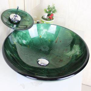 洗面ボウル&蛇口セット 洗面台 洗面器 手洗器 手洗い鉢 ダックグリーン洗面ボール 排水金具付 オシャレ SFSV19