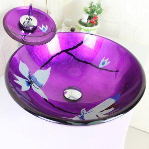 彩色上絵洗面ボウル&蛇口セット 洗面台 洗面器 手洗器 手洗い鉢 紫色 排水金具付 SFS-V-22