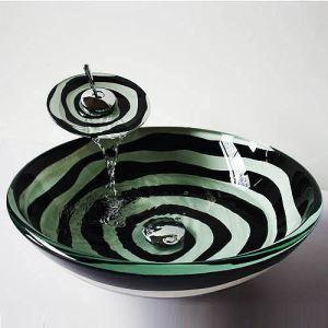 彩色上絵洗面ボウル&蛇口セット 洗面台 洗面器 手洗器 手洗い鉢 強化ガラス製 黒&白 排水金具付 SFS-007