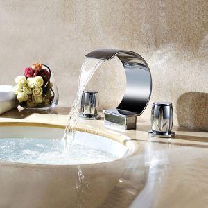 洗面蛇口 バス蛇口 2ハンドル混合栓 滝状吐水口 真鍮 クロム