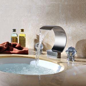 洗面蛇口 バス蛇口 2ハンドル混合栓 クリスタルハンドル クロム