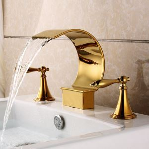 洗面蛇口 バス蛇口 2ハンドル混合栓 滝状吐水口 金色 Ti-PVD