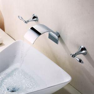 壁付水栓 洗面蛇口 バス水栓 水道蛇口 2ハンドル混合栓 クロム