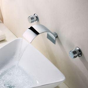 壁付水栓 洗面蛇口 バス蛇口 2ハンドル混合栓 クロム