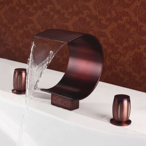 洗面蛇口 バス蛇口 2ハンドル混合栓 滝状吐水口 真鍮 ORB