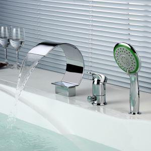 浴槽水栓 バス蛇口 シャワー水栓 ハンドシャワー付き 滝状吐水口 真鍮 クロム