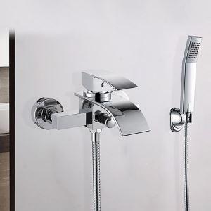 浴槽水栓 壁付水栓 シャワー水栓 ハンドシャワー付き 真鍮 クロム