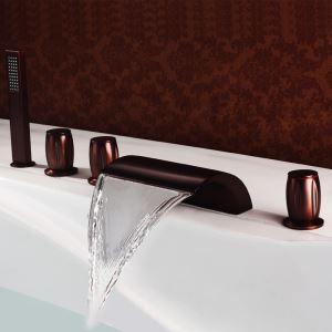 浴槽水栓 バス蛇口 3ハンドル混合栓 シャワー水栓 ハンドシャワー付き 真鍮 ORB
