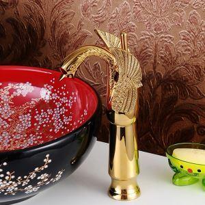 洗面蛇口 バス水栓 冷熱混合栓 立水栓 水道蛇口 手洗器水栓 白鳥型 金色 TI-PVD