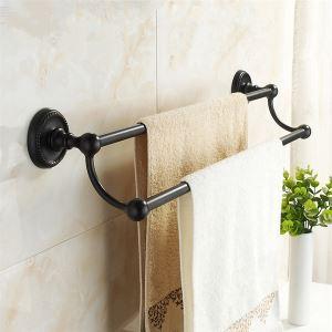 浴室二重タオルバー タオル掛け タオル収納 ハンガー バス用品 真鍮製 褐色メッキ加工