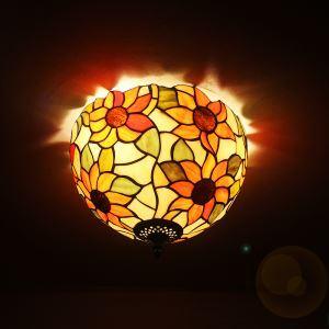 ステンドグラスランプ シーリングライト ティファニーライト 天井照明 ひまわり柄 D30cm 2灯 XD12031